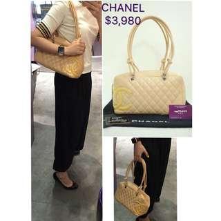 80% New CHANEL Cambon 杏色 羊皮 米黃色 肩背袋 手提袋 手袋 Beige Lambskin Yellow CC Logo Handbag