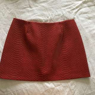 Red Snakeskin Faux Leather Skirt