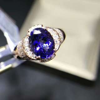 🍍18K Gold - Natural Blue Sapphire Oval Gem Ring with Ruby gem🍍