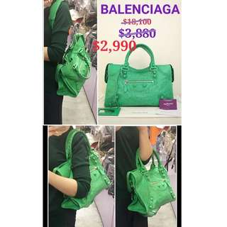 85% New BALENCIAGA 258044 Giant Brogues City 綠色 牛皮 手提袋 肩背袋 手袋 Green Leather Handbag