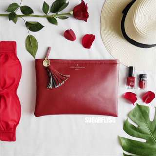 Sugerfly Red Top Zip Clutch