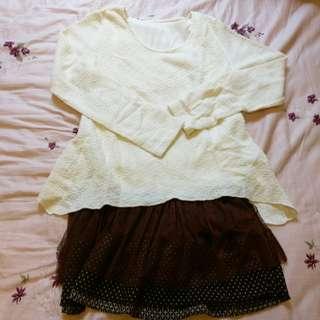 冬衣最後出清 假兩件白色咖啡紗裙洋裝 蝴蝶結別針 針織洋裝 柔膚內裡 保暖針織   #畢業兩百元出清