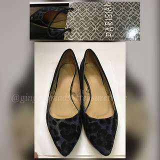 Parisian Blue/Camou Pointed Flats Size 9 fits 8.5-9