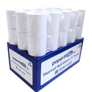 30 Rolls of Thermal Paper Roll (80x76x12mm) for POS Receipt Printer