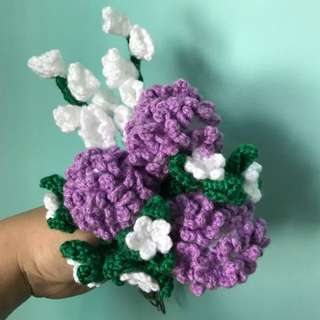 Crochet flowers carnations- lilac