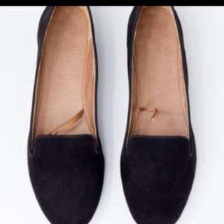 黑色 絨面 平底鞋