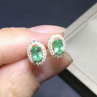 🍍Natural Green Emerald Oval Gem Earrings🍍