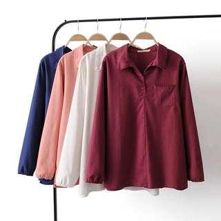 (XL~4XL) 2018 spring new loose Korean version of the collar lace collar cotton shirt