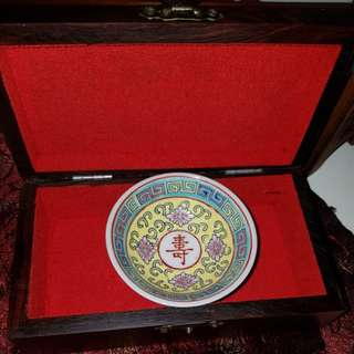 Sales- old mini plate with rosewood box