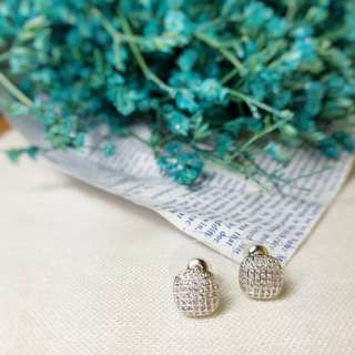 Square studded korean earrings