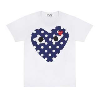 PLAY POLKA DOT BIG HEART T-SHIRT (WHITE)