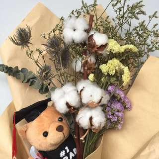 Dried cotton bouquet with graduation bear
