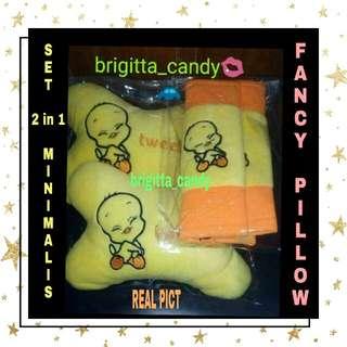 ( NEW PRODUCT ) Set 2 in1 Bantal Sandaran Kepala utk Jok Mobil ( Depan ) Fancy Tweety - Yellow combi Orange #MakinTebel
