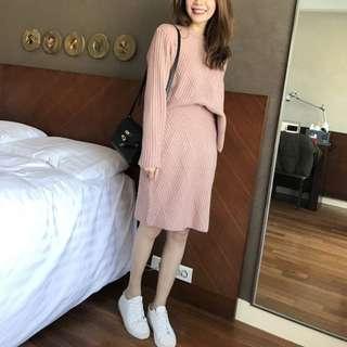 Sammy Korea菱格織紋套裝-粉紅