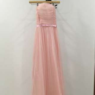 Pink romantic evening maxi dress
