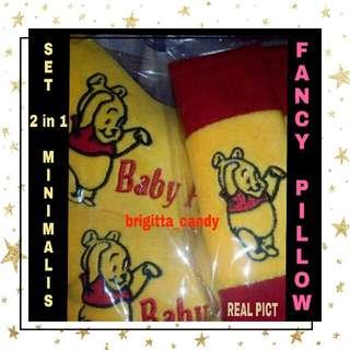 ( NEW PRODUCT ) Set 2 in1 Minimalis Bantal Sandaran Kepala utk Jok Mobil ( Depan ) Fancy Baby Pooh - Yellow combi Merah # MakinTebel