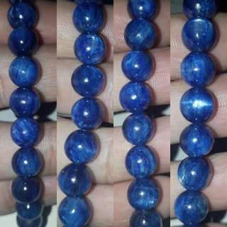 Kyanite Bracelet(蓝晶石手链). Top quality with cat eye ray, bead size 8mm.
