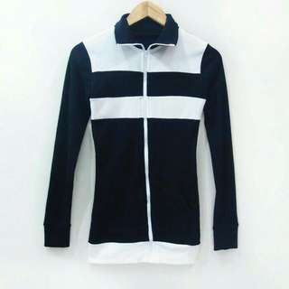B12 Jaket Black White Cardigan Outer Outwear Outerwear