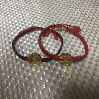 Gold coin brecelet red