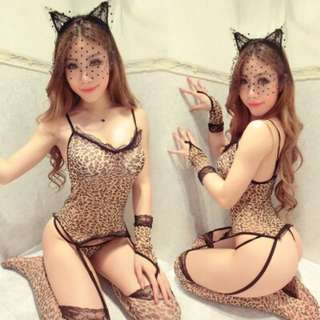Sexy wild leopard printed 6pcs costume garter lingerie set