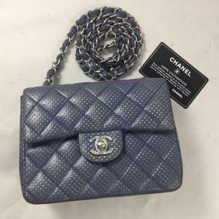 Chanel mini perforated blue SHW