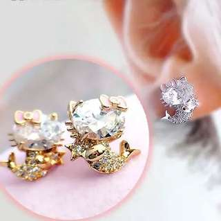Hello Kitty Mermaid Gold Plated Earrings with S925 Needle