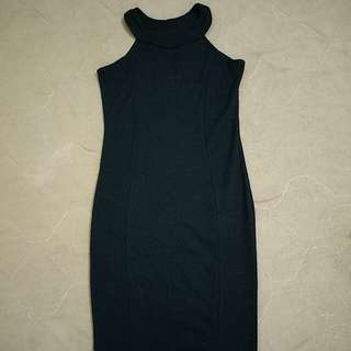 black ribbed halter neck dress