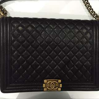 Authentic CHANEL BOY large Caviar Leather