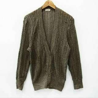 C25 Mocca Rajut Knit Tebal Vintage Cardigan Oitwear Outer Outwear Luaran