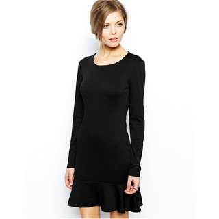 (RENT @ $12) QYOP ASOS Black Long Sleeved Peplum Dress - UK 14