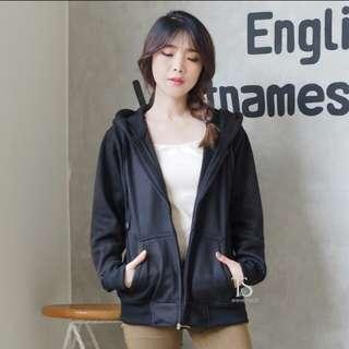Jaket hoodie zipper hitam polos wanita M - XL