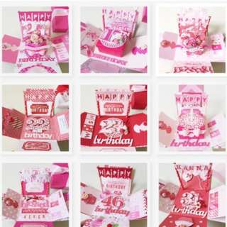 Pink and red handmade birthday Explosion Box Card