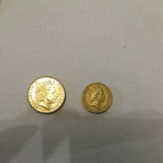Elizabeth II australia coins ( combination aud 1 & 2)