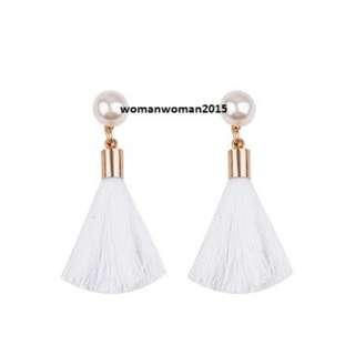 Tassel Earrings white