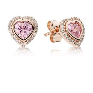 Pandora Pink Sparkling Love Earrings Studs