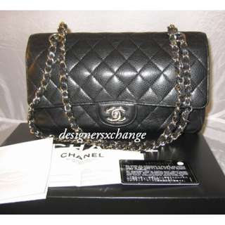 "Chanel 2.55 Black Caviar Classic Flaps Medium (10"") with Silver Hardware (with Chanel receipt)"