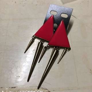 平價出售🤑粉紅色三角形吊耳環