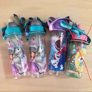 BN🥤DISNEY🥤 Sofia The First & Unicorn Adventures/ Frozen Princess Elsa, Anna & Olaf Water Storage Bottle/ Container C/W Straw & Strap (450mL)