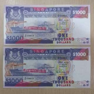 Ship Series 2X $1000 running number