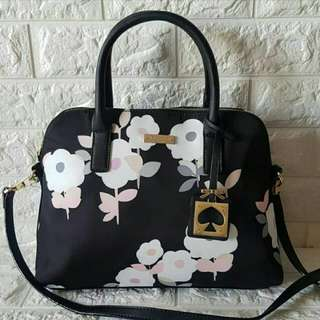 FREE SHIP Kate Spade bag Nylon Satchel handbag sling crossbody - black, floral