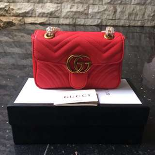 Ready gucci marmont red and nude