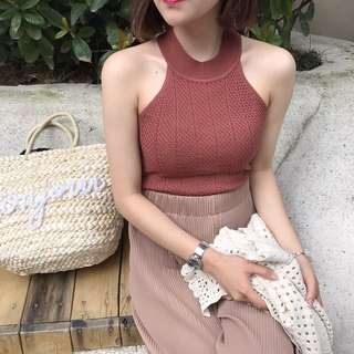 [PO] knitted halter top