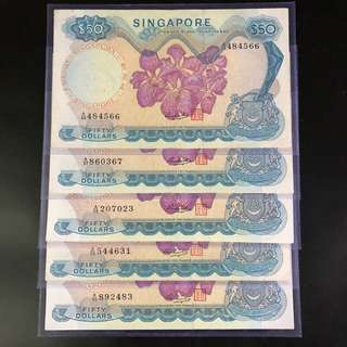 $50 Singapore orchid series notes (EF)
