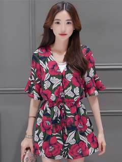 AO/DZC070851 - Fashion V-Neck Floral Flare Sleeve Chiffon Jumpsuit