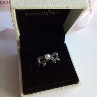 Pandora bow silver ring with pearl 925 Italy silver
