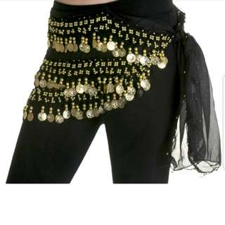 Belly dancing hip scarve with coin
