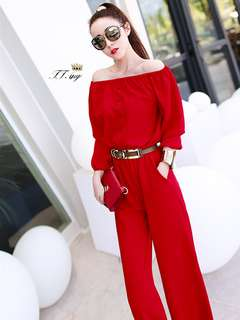 AO/DZC070853 - Modern Buttons Boat Neck Loose Long Jumpsuit