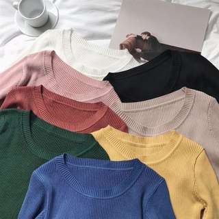 [PO] knitted round neck sweater/ long sleeve
