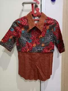 Kemeja Batik Wanita Merah size S