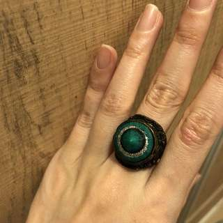 Green stone chrome color ring  綠 石 介子 戒子 復古